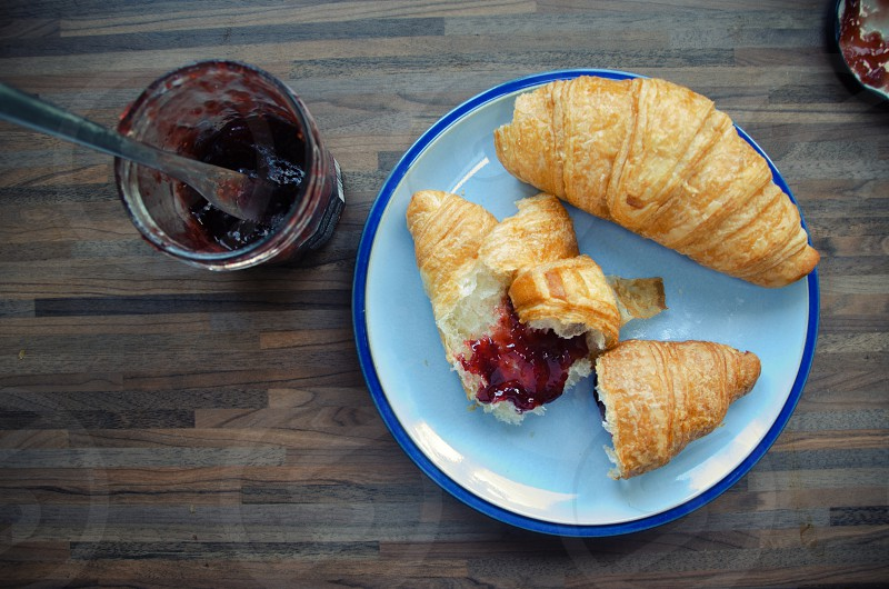 croissants jam raspberry comfort comfort food breakfast pastry pastries sweet delicious tasty butter hungry photo