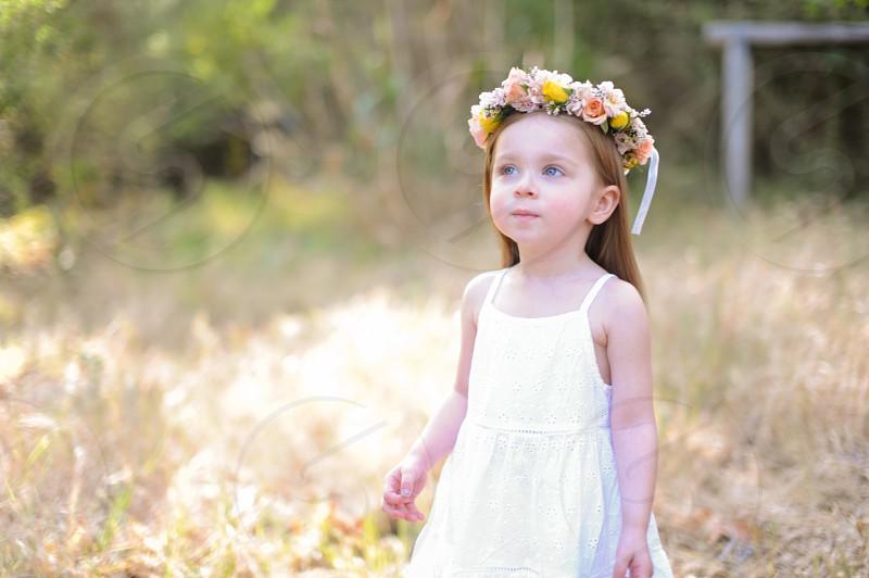 girls white cotton flower girl dress photo