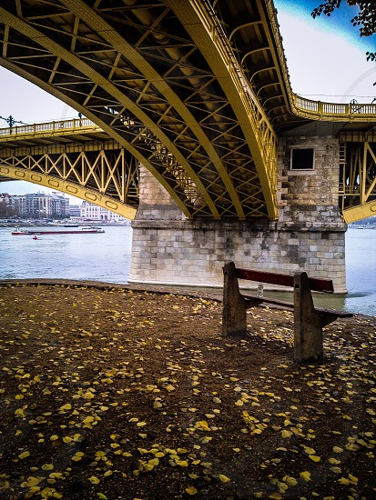 Bridge Danubi Danubi river Donau Budapest Margaretha Island Bench parkbench water Autumn fall Leafs Boats Boat bridges river Romantic lovely  photo