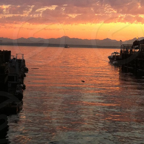 Seattle waterfront at sunset photo
