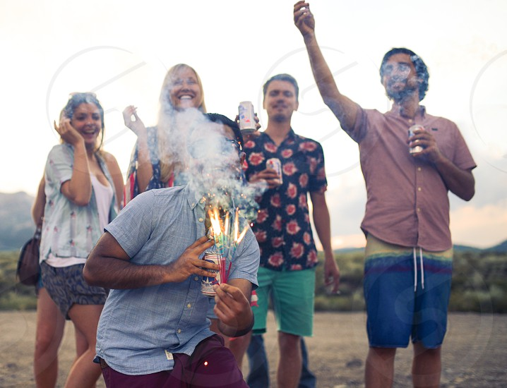celebration sparklers america beer friends photo