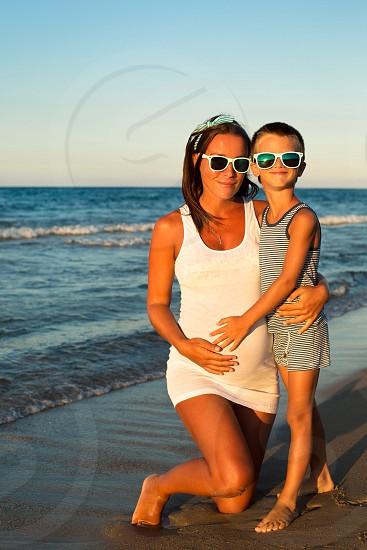Mom and son love sea stylish  photo
