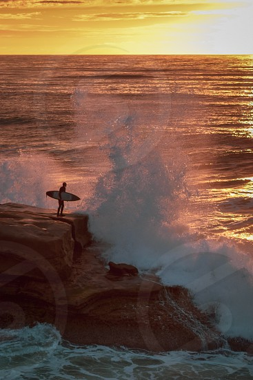 high tide at sunset cliffs photo