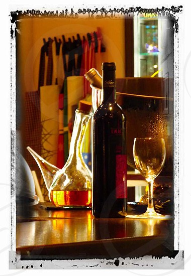 Wine decanter in a bar of the Latina section of Madrid photo