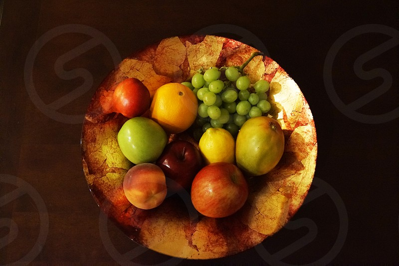 fruits on brown plate photo