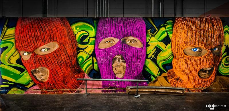 Wide shot of colorfully vibrant graffiti at an Arkansas skate park.  photo