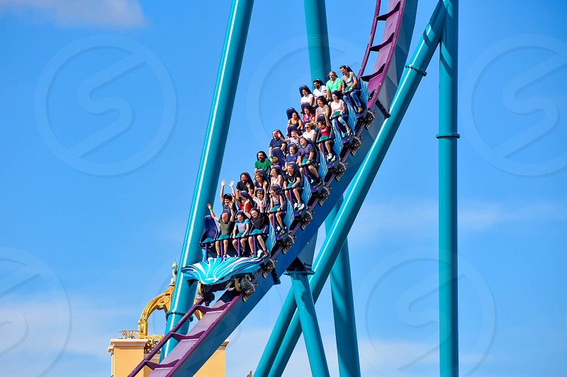 Orlando Florida . February 26  2019. People having fun amazing Mako rollercoaster at Seaworld Theme Park (5) photo