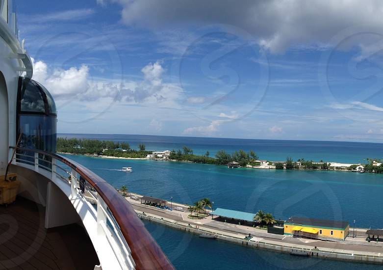 View of a port in the Bahamas from a cruise ship photo