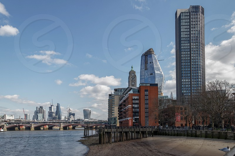 LONDON/UK - MARCH 21 : View down the Thames to the City of London on March 21 2018. Unidentified People. photo