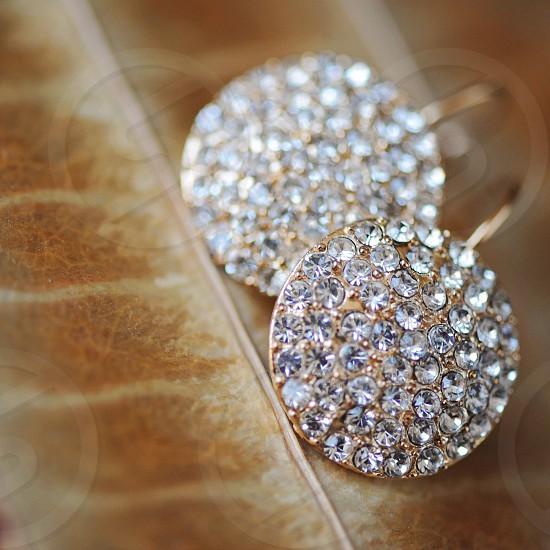 diamond cluster gold hook earrings photo