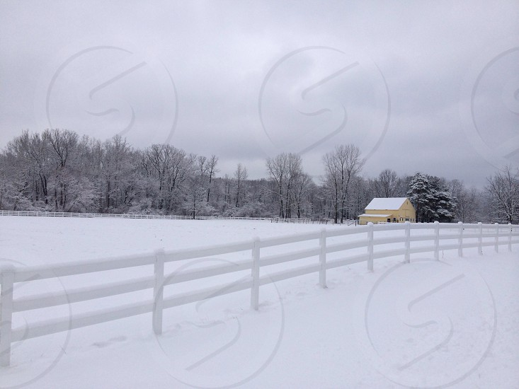 white and yellow painted house on a snow covered field photo