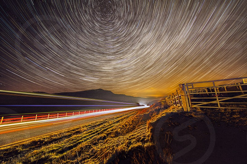 Traffic Light Trails with Star Trails photo