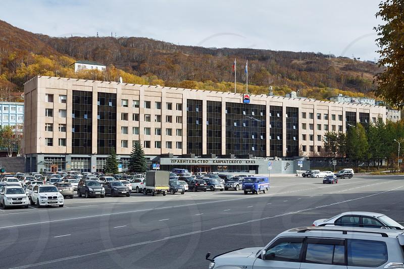 PETROPAVLOVSK-KAMCHATSKY KAMCHATKA PENINSULA RUSSIA - OCT 12 2016: View on building of Kamchatka Region Government Legislative Assembly of Kamchatka and Russian President's Reception in Kamchatka. photo
