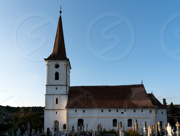 SIBIEL TRANSYLVANIA/ROMANIA - SEPTEMBER 16 : Exterior view of the Holy Trinity Church in Sibiel Transylvania Romania on September 16 2018 photo