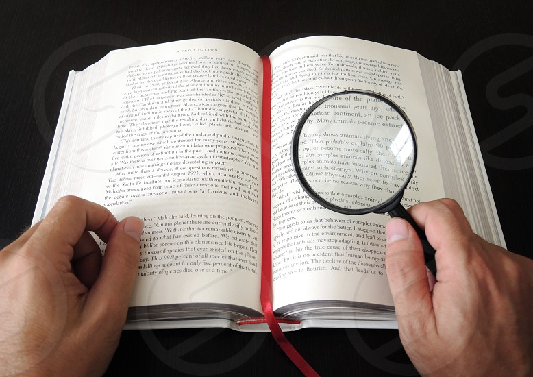 person holding  black magnifying glass photo