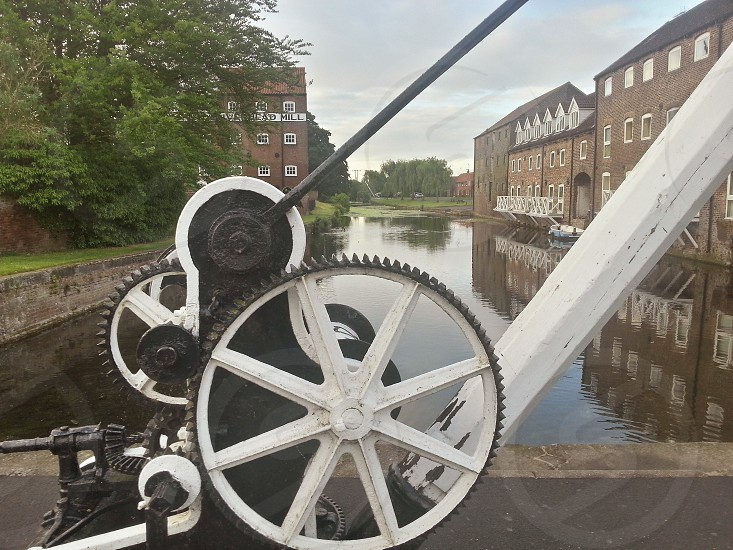 driffield canal crane lock old mill old crane English town British town old fashion town granary water small boat photo
