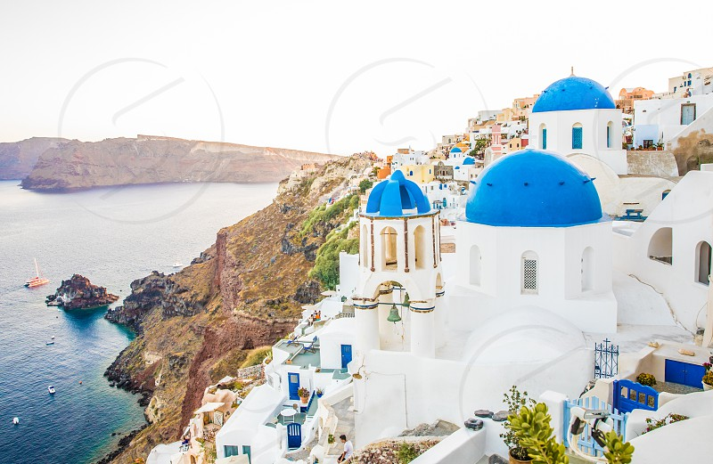 Church In Blue And White In Famous Greek Island Santorini In Cyclades photo