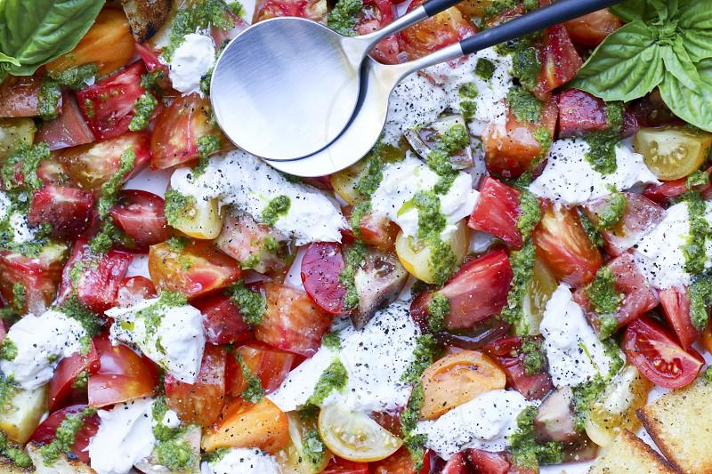 salad pesto tomato tomatoes basil grilled bread fresh burrata cheese refreshing summer salads photo