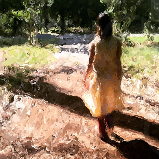 Art abstract walking girl  photo