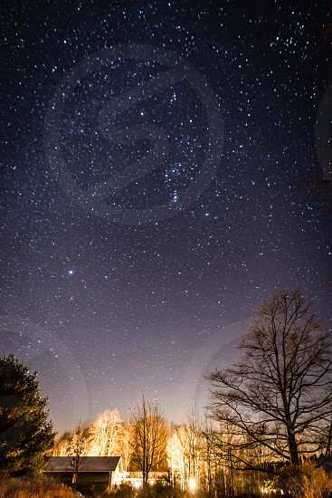 The grand constellations of winter in the southern sky.  Orion Auriga Canis Major Cassiopeia and Perseus photo