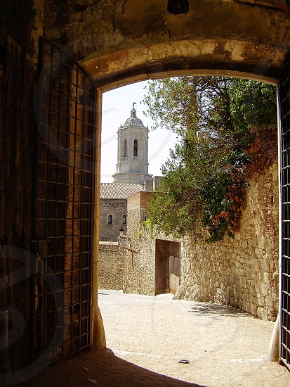 Spain Girona oldcity city wall cathedral Europe  photo