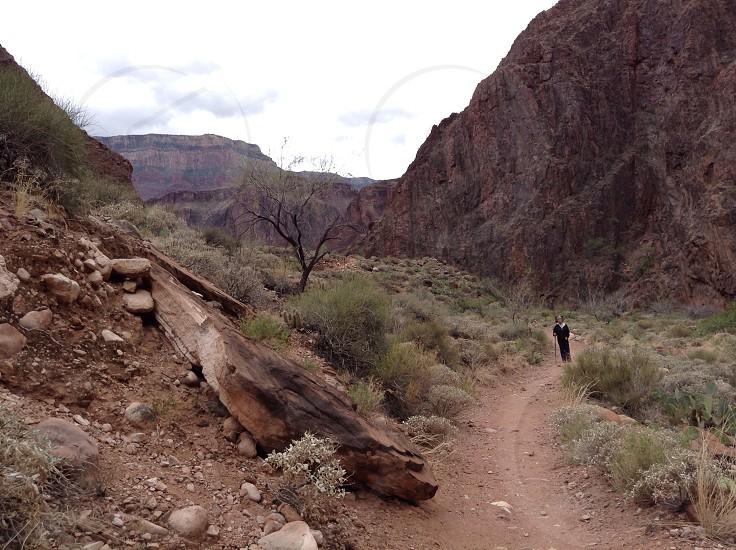 Hiking up the north rim trail photo