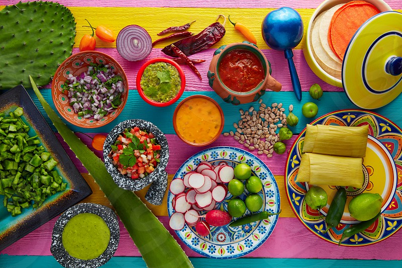 Mexican food mix with sauces nopal and tamale agave guacamole photo