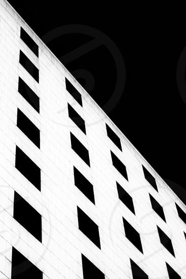 Minimal minimalism art symmetry pattern windows building monochrome hotel black and white exterior photo