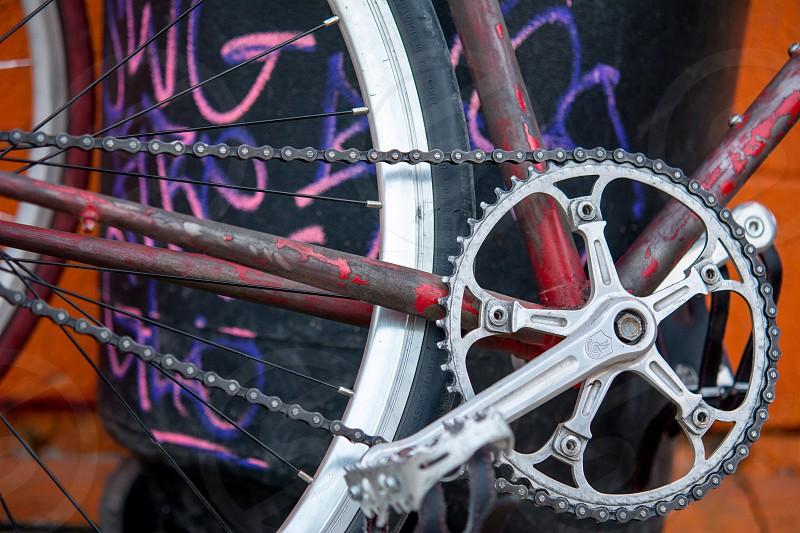 urban bike bicycle crank graffiti chain photo