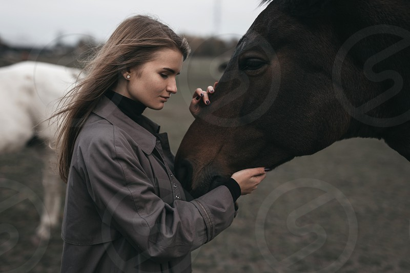 Girl stand with horse on the field grey tones photo