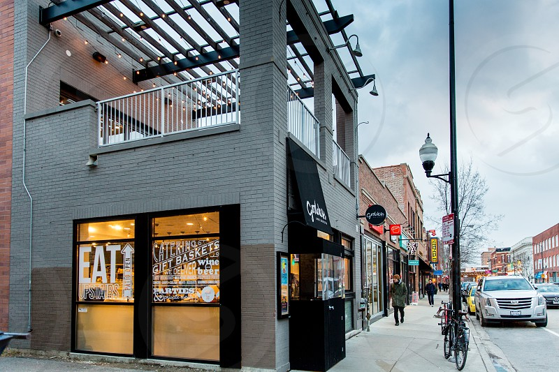The Bucktown neighborhood in Chicago IL.  Strip of restaurants on N Damen Ave. photo