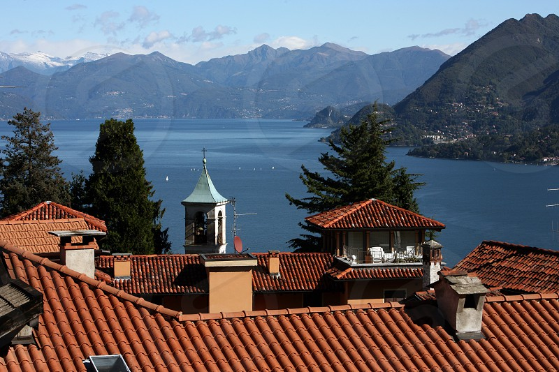 The Village of Stresa on the Lago Maggiore in the Lombardia  in north Italy.  photo