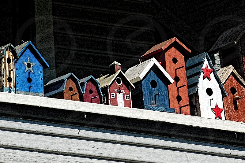 Collection of red white and blue birdhouses photo