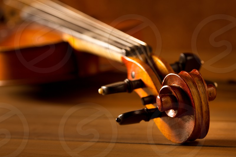 Classic music violin vintage in wooden golden background photo