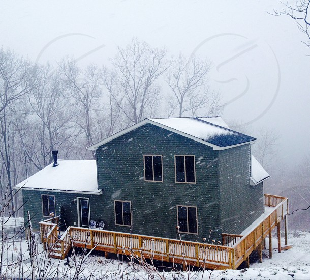 green snow covered house photo
