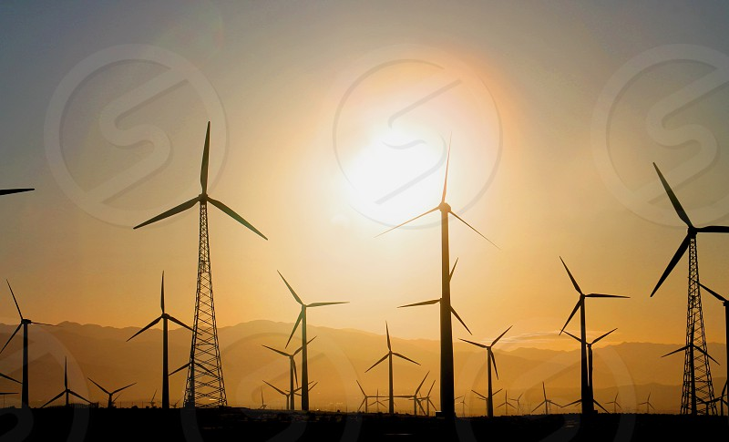 A farm collection of Wind turbines are silhouetted against the morning sunrise photo