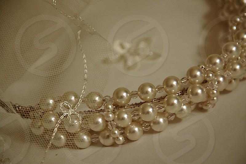 Wedding tiara with tulle veil photo