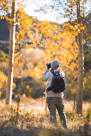 person in grey sweater and knit cap wearing grey cargo pants with backpack holding dslr camera to eye level capturing the scenery on tall trees overlooking mountain ranges during daytime photo