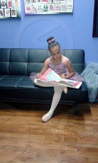 Ballet Performance Girl African American Reading Tutu 8 years old photo