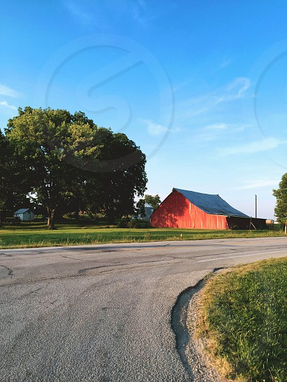 Red barn barn red farm country Midwest rural road travel photo