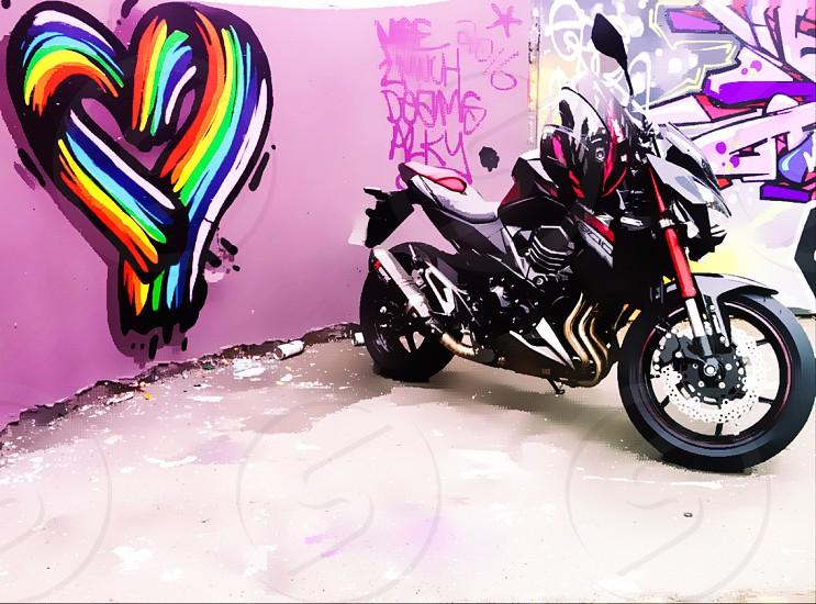 Colour pop motorbike colourful heart love for bikes photo