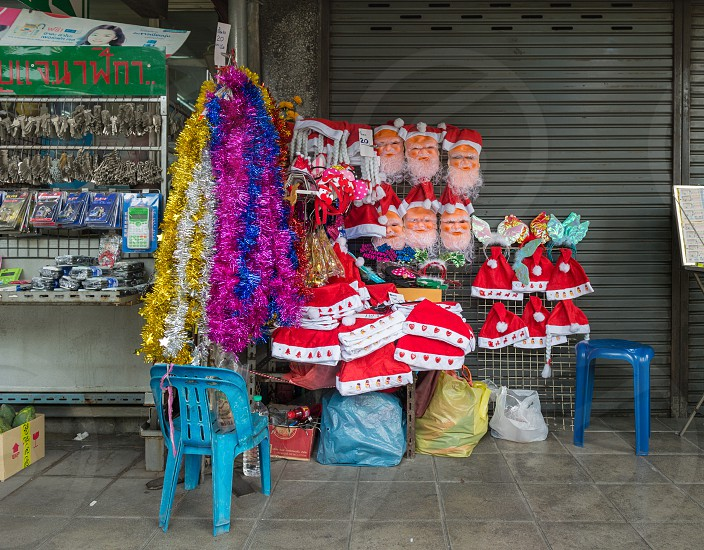 Christmas-themed items for sale in Bangkok Thailand.  photo