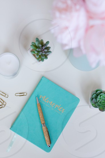 Desk with turquoise journal gold pen and succulents photo