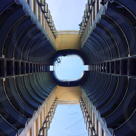 Architecture symmetry look up blue Singapore photo