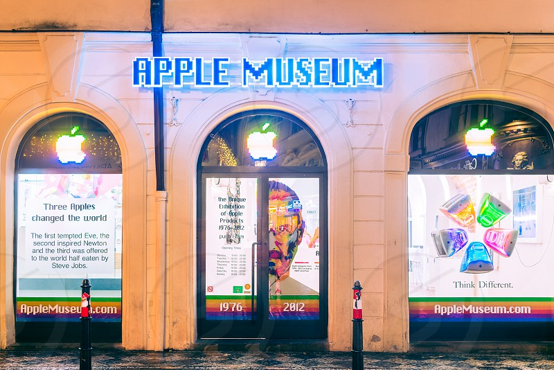 a long exposure + HDR shot of the apple museum in Prague Czechia   photo