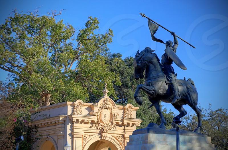 "San Diego California USA - February 5 2018: ""El Cid Campeador"" bronze statue created in 1927 by sculptor Anna Hyatt Huntington and architect William Templeton Johnson and located in Balboa Park San Diego California. photo"