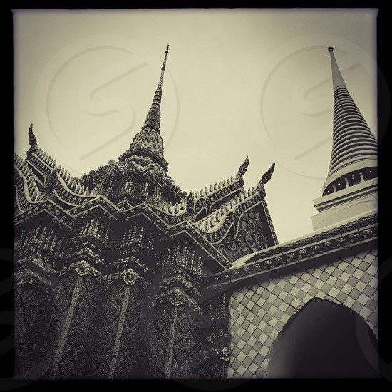 Outdoor day landscape horizontal Grand Palace Bangkok Thailand Kingdom royal regal monarch king Asia Asian east eastern Far East gold golden mosaic tiles temple shrine monument attraction spires travel tourism tourist wanderlust architecture ornate decorative square filter black and white monochrome photo