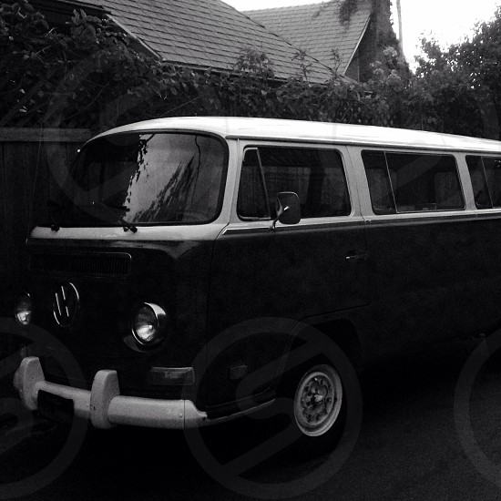 black and white classic vw bus photo