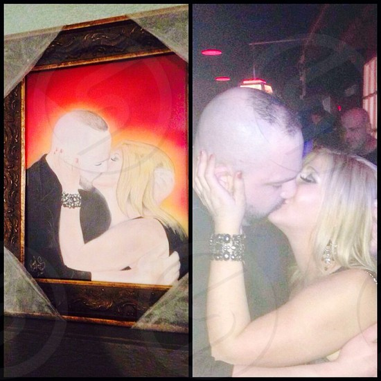 A portrait of our first kiss given to me on Valentine's Day from my amazing wife to be!!! She surprised me with it by allowing me to find it among other portraits at an art gallery!  photo