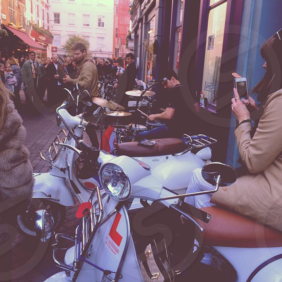 A British Mod band play on the world famous Carnaby Street photo